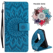 Wallet Leather Flip Case for Samsung Galaxy Note 8, Embossed Art Mandala Pattern with Kickstand Card Slots, Embedded Durable Magnetic Full Body Protective Case Cover for Galaxy Note 8 (2017) - Blue