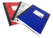 Norcom 100 Sheet Marble Composition Notebooks, Wide Ruled, Fun Patriotic Colours, Pack of 3
