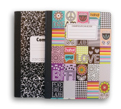 Flower Power/Classic Patterned Wide Ruled 100 Sheets Composition Notebooks -