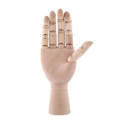 Wooden Right Hand Model, 1pc Realistic Sectioned Articulated Jointed Art Mannequin Hand Palm Artist Sculpture Perfect for Drawing Sketch Decoration