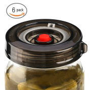 6-Pack Fermenting Lids Kit w/ Bonus Pump, galahome Waterless Airlock For Mason Jar Fermentation, Turn Wide Mouth Jars to Crock Pots, Black