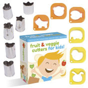 Fruit And Vegetable Cutter shape set For Kids By UpChefs - 12 Animal and Fun Shaped Mini cookie Cutter Mould Food Cutouts for Bento Lunch Boxes - Fruit & Veggie slicer press Stamp set for picky Eaters