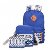Coohole 2017 Girl Canvas Shoulder School Bag Backpack+Crossbody Tote Bag+Clutch Purse