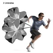 Running Speed Training, 2 Umbrella Speed Chute 140cm Running Parachute Soccer Training for Weight Bearing Running and Fitness Core Strength Training