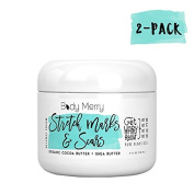 Stretch Marks & Scars Defence Cream, 2-Pack- Daily Moisturiser w Organic Cocoa Butter + Shea + Plant Oils+Vitamins to Prevent, Reduce and Fade Away Old/New Scars – Best for Pregnancy, Men/Bodybuilders