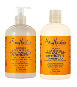 SheaMoisture Low Porosity Protein-Free Set w/Baobab & Tea Tree Oils – Includes 380ml Shampoo & 380ml Conditioner