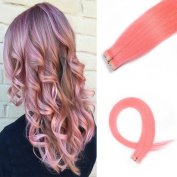 HAIQUAN Tape In Light Pink 20Pcs Human Hair Extensions 50cm 30g/pack Slilky Straight Seamless Skin Weft Remy Hair
