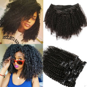 Afro Kinky Curly Human Hair Clip-in Extension,Mongolian Hair,100G/Set,8Pcs,18 Clips