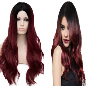 Netgo Ombre Wine Red Synthetic Wigs for Black Women Long Wavy Burgundy 2 Tones Dark Roots Middle Parting None Lace Wig Heat Resistant 70cm