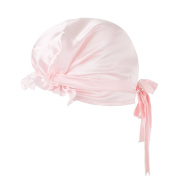LULUSILK 100% Mulberry Silk Night Sleep Cap Head Cover Bonnet with Ribbons Style for Women Hair Beauty