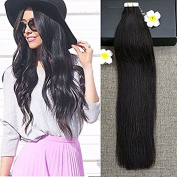 Full Shine hair 41cm 20 Pieces 50g Per Package Tape in Hair Extensions Off Black Colour#1B Real Human Hair Extensions Thick End Skin Weft