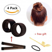 Hair Bun Shapers,2 Pcs Modern Hair Styling Maker with 1 Hair Pin and 1 Hair Ties,Beauty Crown and Donut Hair Style Tools by Biglion