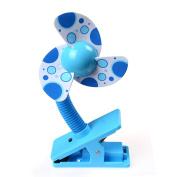 Baby Stroller Cooling Fan Kids Clip-On Mini Stroller Fan with Soft Foam Blade Mini Travel/ Desk / Versatile Personal Fan Powered by 2 AA Batteries