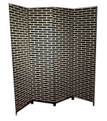 Fine Asianliving Room Divider Paravent Folding Screen Sustainable Handwoven Natural Paper Fibre Bricks 4 Panel (180x160cm) Furniture Home Decor Screens Two-Sided Both-Sided Oriental Asian Chinese Japanese Style