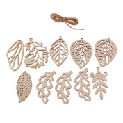 MonkeyJack 10 Pieces Leaves with Holes Wood Shapes Charms for Woodcrafts Hanging Decorations DIY Crafts