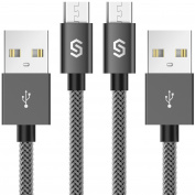 Micro USB Cable Syncwire Android Charger Cable [2-Pack 1m] A Male to Micro B Cord for Samsung , Kindle, HTC, Nexus, LG, Sony, Nokia, Motorola, PS4, Smartphones - Nylon Braided Space Grey