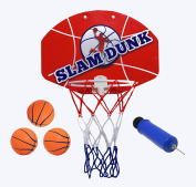 "Kipi Toys - Slam Dunk Mini Basketball Set - Over the Door Plastic Toy Backboard 14 X 10"" w/ Hoop & Net, 3 Balls & Ball Pump. Sturdy Simple Assembly, Easy Clip-on Any Door Game For Children or Adults"