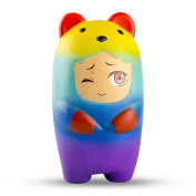 BeYumi Colourful Slow Rising Toy, 1 Pack of Rainbow Bear Squishy Cream Scented Bread Decompression Squeeze Toys for Collection Gift, decorative props Large or Stress Relief