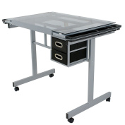 Adjustable Drafting and Drawing Table Craft Station Art Hobby Glass Top Desk w/Storage Drawers