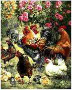 Wowdecor Paint by Numbers Kits for Adults Kids, Number Painting - Rooster and Chicks in Spring 41cm x 50cm