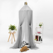 Jeteven Bed Canopy Round Dome Mosquito Net with Crown Playing Tent for Baby Fly Insect Protection Indoor Outdoor Decorative Grey