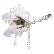 BABEYOND Women's Peacock Feather Headband Gatsby Party Headband with Ribbons Flapper Costumes Accessories