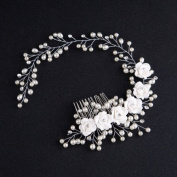 Hair Comb Bride Wedding Clip Flower Hairpin Jewellery Silver Fascinator Pin Accessory Perfect