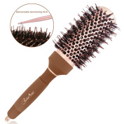 Care me Blow Dry Round Vented Hair Brush with Boar Bristles for Blowouts (4.3cm ) - Professional Salon Styling Brush for Healthy Shiny Frizz-Free Hair, Straight or Curl