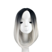 Raylans Synthetic Lace Front Wig Ombre Wigs Straight Short Bob Haircut Dark Blue+Silvery White