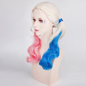 Raylans Harley Quinn Synthetic Lace Front Ombre Long Curly Hair Halloween Costume Cosplay Wig