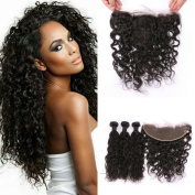 G-EASY Brazilian Hair Water Wave Weave Hair Extensions 3 Bundles with 13x 4 Lace Frontal Closure Free Part Virgin Human Hair