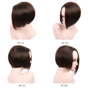 KRSI Natural Brown Short Bob Synthetic Hair Wigs for Women Short Synthetic Wigs with Side Parting No Bangs Heat Resistant Full Cospaly Part Replacement Wigs