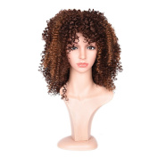 Synthetic Short Afro Kinky Curly Wig Resistance Fibre Ombre Brown Coloe Synthetic Hair With Bangs