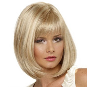 YOURWIGS Short Bob Hair Wigs Golden Wigs Straight Synthetic Wigs for Women Daily Wear with Wig Cap Z069