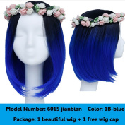 Women's Wig Short Bob Dark Root Wig Women's Fashion Top Quality Heat Resistant Synthetic Ombre Black to Blue Hair Wigs for Women