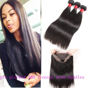 360 Lace Frontal with Bundles 8A Indian Virgin Hair Straight with 360 Lace Frontal Closure 3pcs Human Hair Pre Plucked with Baby Hair 360 Full Lace Frontal