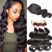 GEM Beauty Hair 3 Bundles Malaysian Virgin Hair Body Wave with Free Part Lace Closure 100% Unprocessed Human Hair Weave Extensions Nature Black Colour