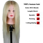 Luxwig 100% Human Hair Mannequin Head Hairdresser Training Head Manikin Cosmetology Doll Head 613 Hair Colour 46cm