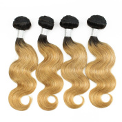 KISS HAIR Ombre Human Hair Extensions Body Wave Two Tone Coloured Brazilian Virgin Remy Hair Weave Bundles for Short Bob Style