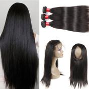 360 Lace Frontal Closure with Malaysian Straight Hair 3 Bundles Human Hair Malaysian Virgin Hair Straight with Pre Plucked 360 Lace Frontal Closure Baby Hair