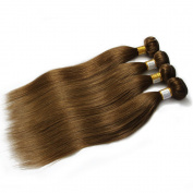 Grade 6A Brazilian Straight 100% Remy Human Hair Extensions Pure Colour #8 Light Chestnut Brown Hair Bundles 4Pcs Lot