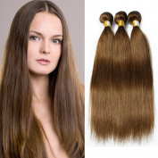 Brazilian Straight Hair 3 Bundles Pure Colour #8 Light Chestnut Brown 100% Human Hair Weaves Total 300G
