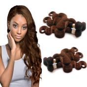 6A Brazilian Body Wave 3 Bundles Human Hair Weaves Weft 100% Human Hair Beautiful Medium Brown #4 Colour