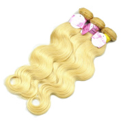 Stella Reina Hi-End Products Colour #613 Platinum Blonde Human Hair 3 Bundles 300g Luxury Bleached Blonde Brazilian Remy Hair Body Wave Sew In Weaves Extension 46cm 50cm 60cm Inches