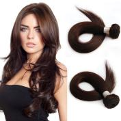 Grade 6A Brazilian Straight Hair Pure Colour #2 Dark Brown 3 Bundles Deal Human Hair Weaves Total 300g