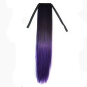 CXYP 60cm Ombre Straight Synthetic Ponytail Extension Wrap Around Synthetic Ponytail Clip in Hair Extensions