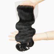Stella Reina Free Part 10cm x 10cm Top Lace Closure Body Wave Brazilian Virgin Human Hair Wavy Extension in Colour 1B Natural Black 50cm