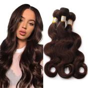 Grade 6A Brazilian Human Hair Body Wave Pure Colour #2 Dark Brown 3 Bundles Human Hair Weaves Total 300G