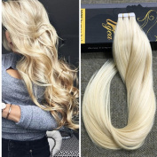 Ugea 46cm #613 Bleach Blonde Tape in Premium Human Hair Extensions PU Weft Invisible Hair Extensions 20pcs 50g Weight