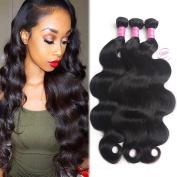 "8A Brazilian Virgin Hair Body Wave Remy Human Hair 3 Bundles Deals 16"" 18"" 20"" 100% Unprocessed Brazilian Hair Extensions Natural Colour Weave Bundles by Grace Length Hair"